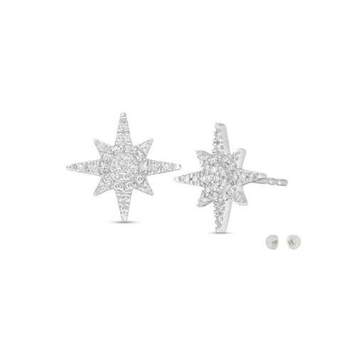 Sterling Silver Cubic Zircon Compass Star Shape Post Earrings.