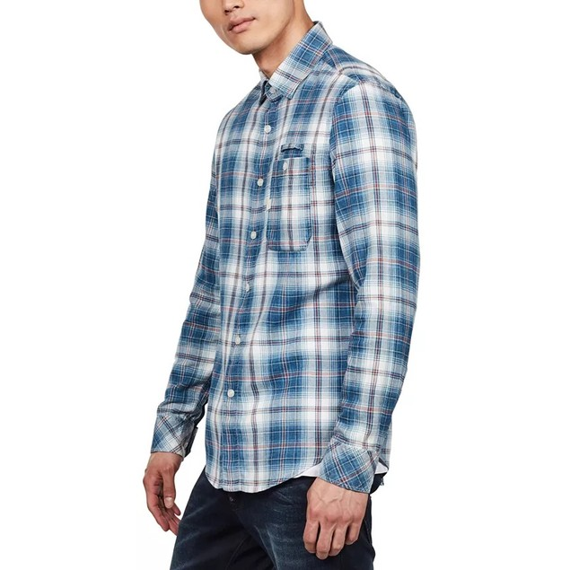 G-Star Raw Men's Bristum Slim-Fit Flannel Plaid Shirt  Blue Size Large