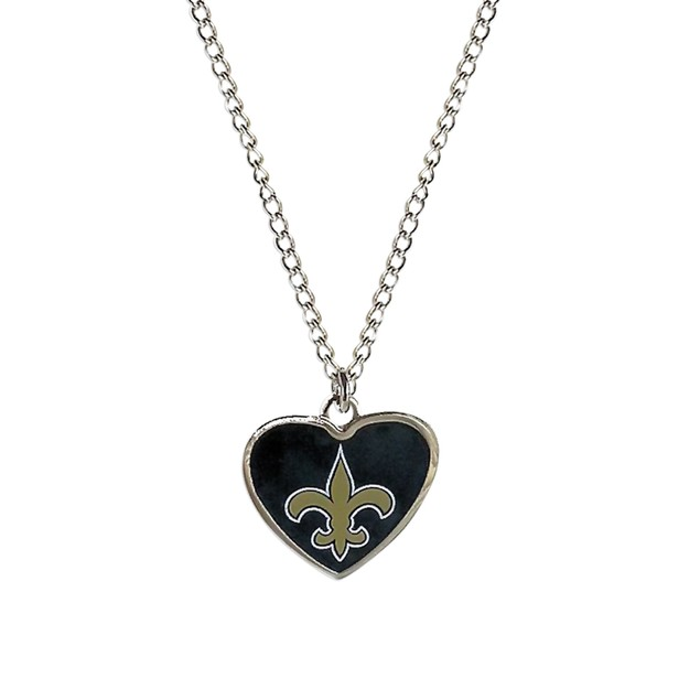 Cleanlapsports New Orleans Saints Heart Shaped Pendant Necklace