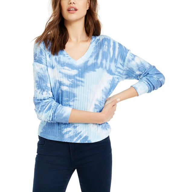 Crave Fame Juniors' Cozy Ribbed Tie-Dyed Top Blue Size Medium