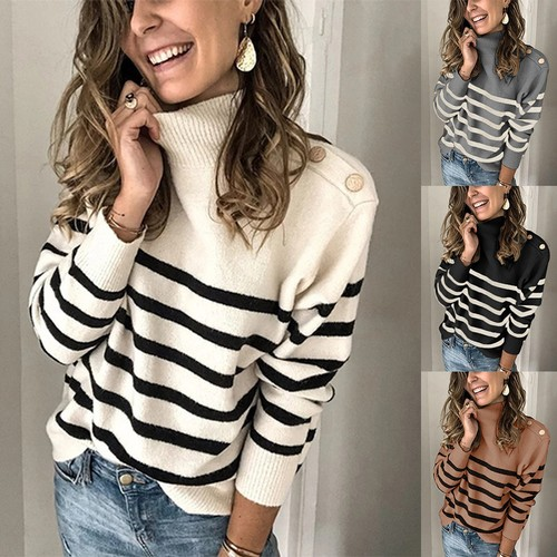 Female High Neck Strap Studded Striped Sweater