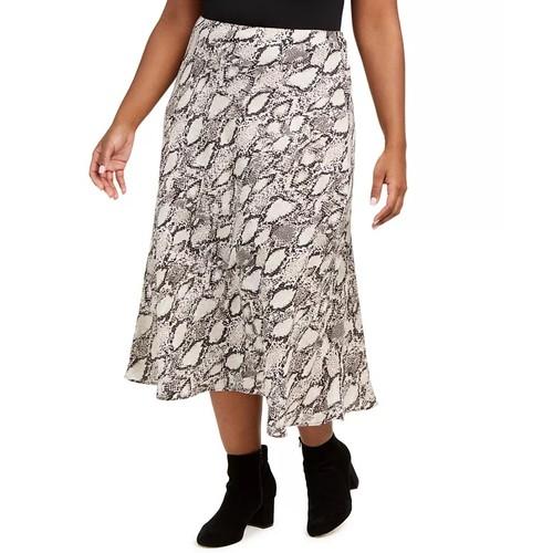 Bar III Women's Plus Size Snake-Print Midi Skirt Beigekhaki Size 1X
