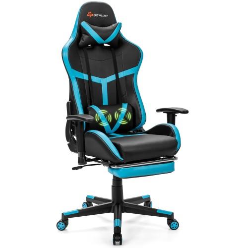 Costway Massage Gaming Chair Reclining Racing Chair High Back w/Lumbar Supp