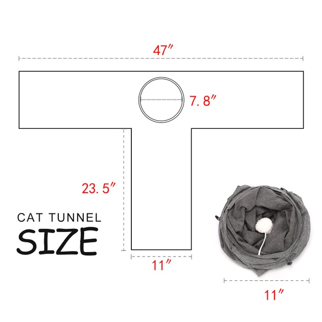 COLLAPSIBLE CAT TUNNEL 3-WAY TUBE INTERACTIVE PEEK HOLE KITTEN PUPPY TOYS