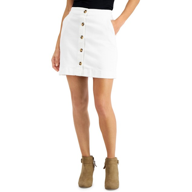 Maison Jules Women's Button-Front Denim Skirt White Size 8