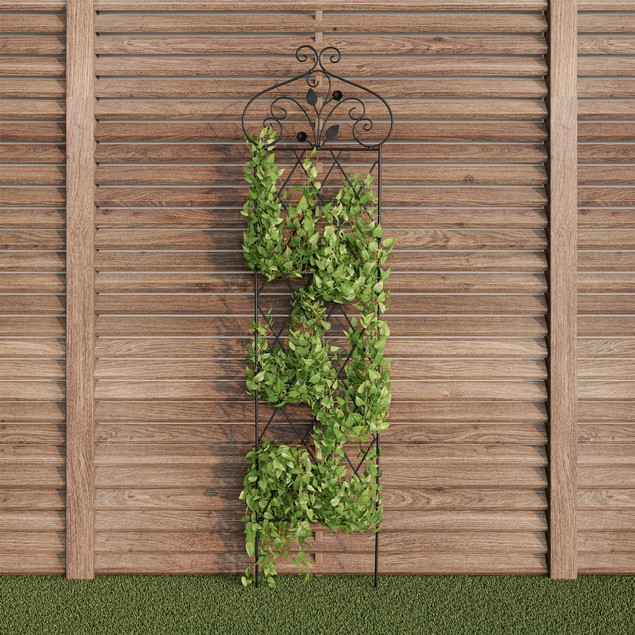 Garden Trellis- For Climbing Plants- 63-Inch Decorative Lattice Metal Panel