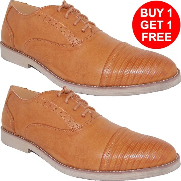Krazy Shoes 2 Pairs 1 Price Brown  Leather Lined Cap Toe Shoe