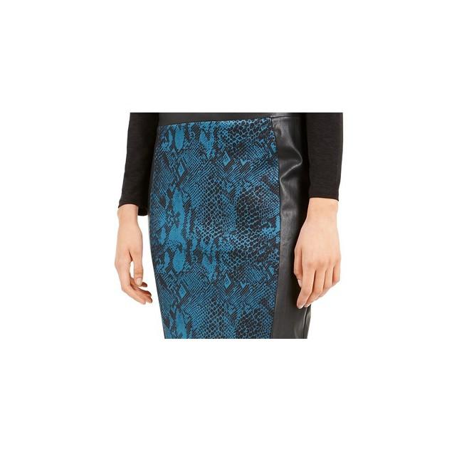 Thalia Sodi Women's Faux-Leather-Panel Pencil Skirt  Blue Size Small