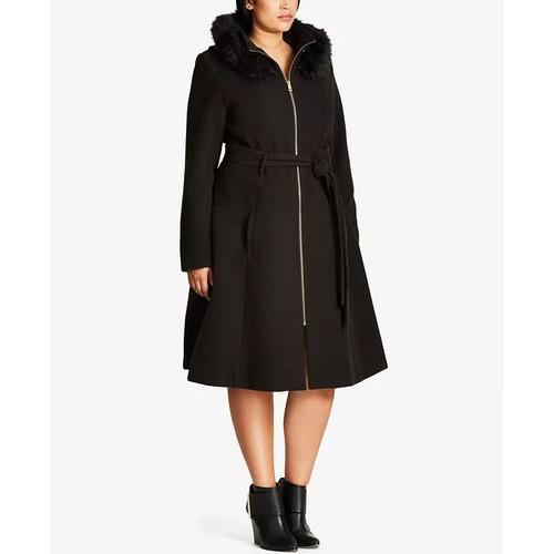 City Chic Trendy Women's Miss Mysterious Faux-Fur-Trim Coat Black Size 20W