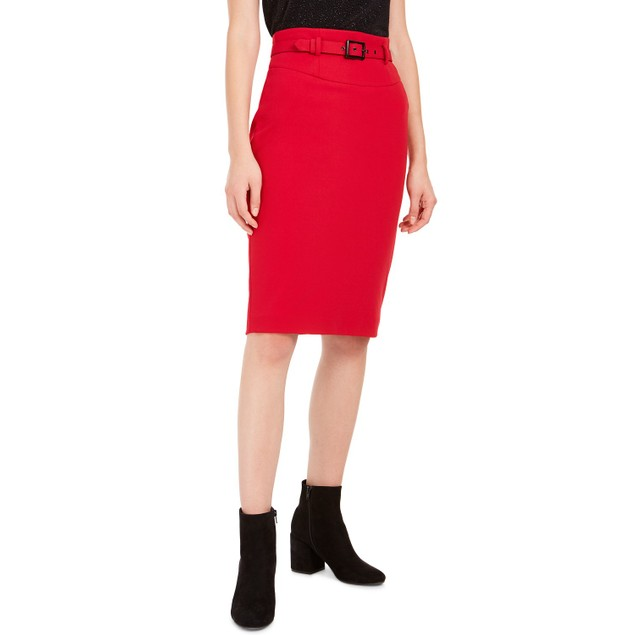 Bar III Womens' Belted Crepe Pencil Skirt Red Size 12