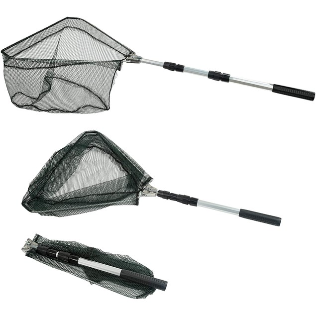 Fishing Landing Net with 3 Section Telescopic Pole Handle Extend to 46.5''