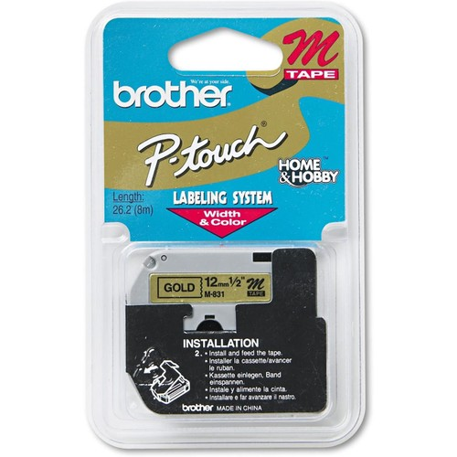 Brothers Brother P-Touch M Series Tape Cartridge, 1/2w, Black on Gold - BRTM831