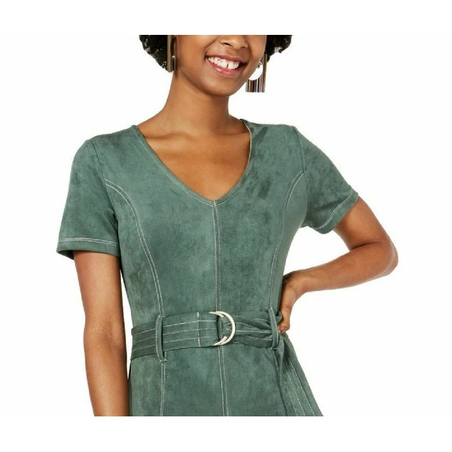 Rosie Harlow Juniors' Belted Faux-Suede Dress Green Size Medium