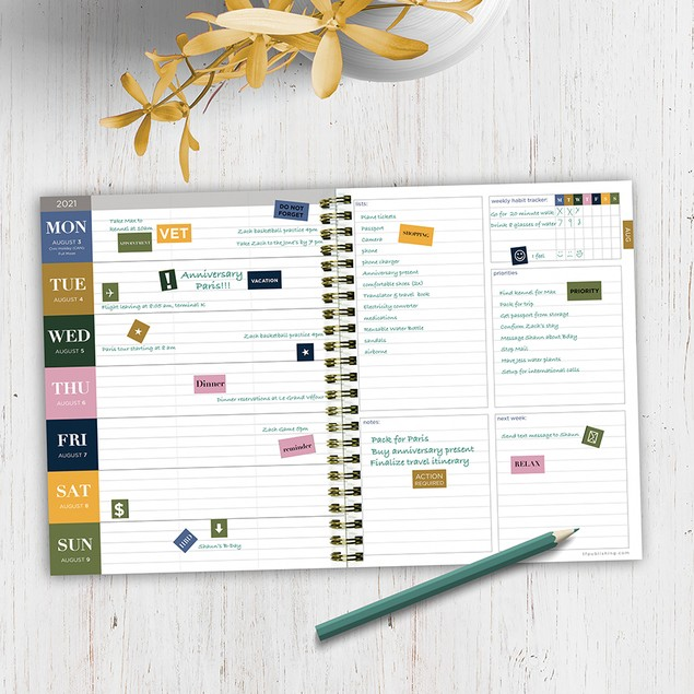 July 2020 - June 2021 Sophisticated Medium Daily Weekly Monthly Planners