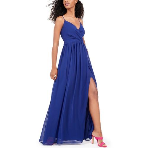 City Studios Juniors' Surplice Chiffon Gown Blue Size 3