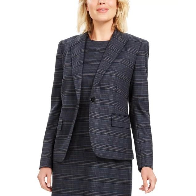 Anne Klein Women's Plaid Blazer Navy Size 8