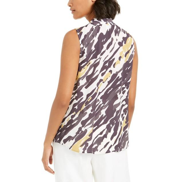 Bar III Women's  Abstract Animal-Print V-Neck Blouse Black Size XX-Small