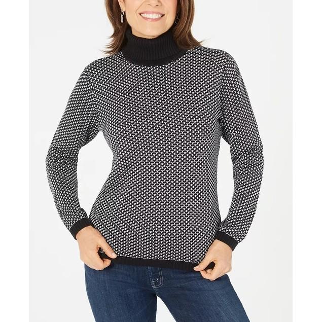 Karen Scott Women's Cotton Turtleneck Sweater Black Size Medium