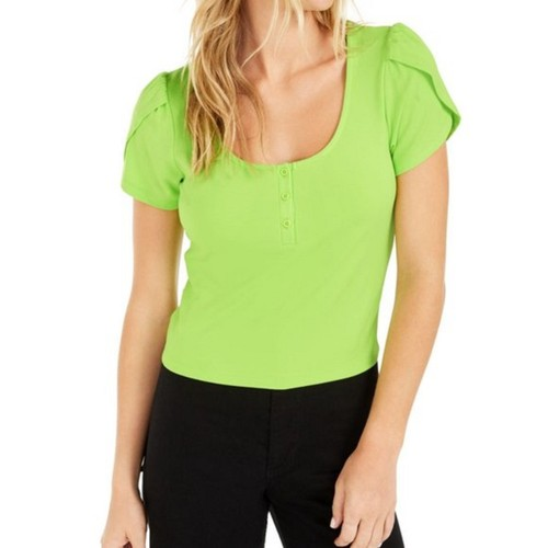 Becca Tilley Women's X Bar Iii Tulip-Sleeve Henley Top Green Size Medium