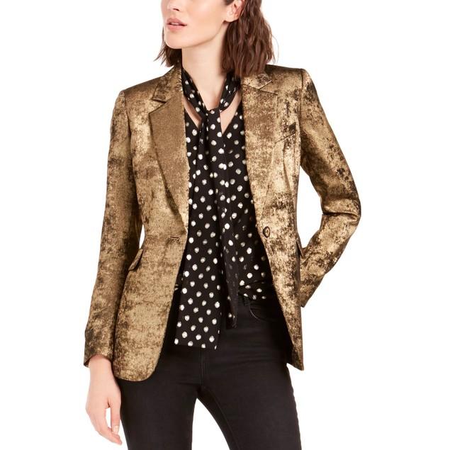 Bar III Women's Metallic One-Button Blazer Gold Size 10