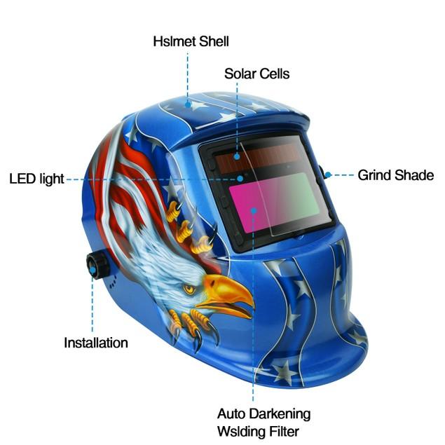 Welding Helmet Solar Powered Auto Darkening Hood