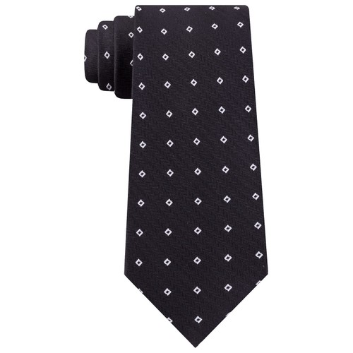 Calvin Klein Men's Classic Square Dobby Silk Tie Black Size Regular