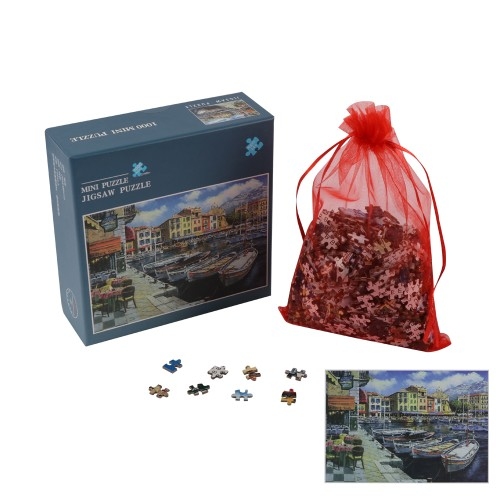 """BIGTREE Mini 10x15"""" Classic Puzzle 1000 Piece Paper Micro Jigsaw Puzzle Harbor Art Painting Backside Clue"""