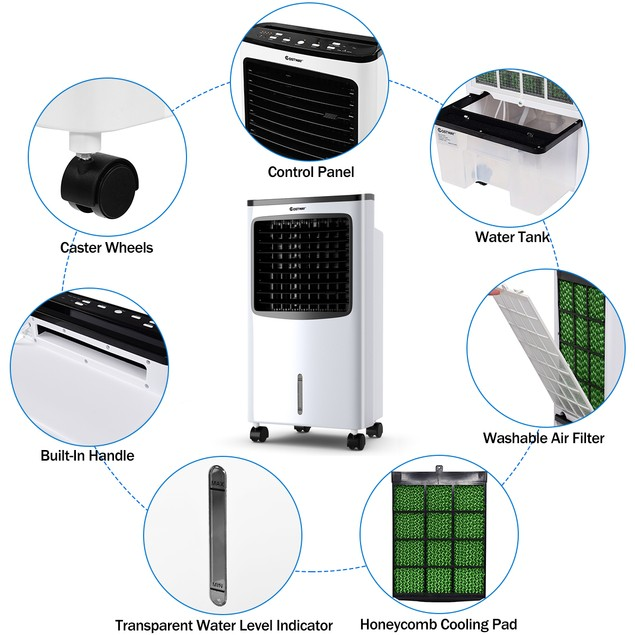 Costway 3-in-1 Portable Air Cooling Fan & Humidifier with Timer & Remote