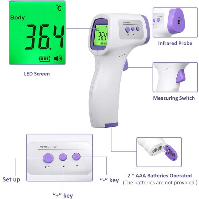 Forehead Thermometer LCD Screen IR Digital Non-Contact Infrared Purple