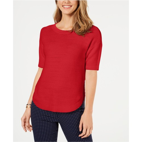 Charter Club Women's Cotton Short-Sleeve Sweater Bright Red Size Large