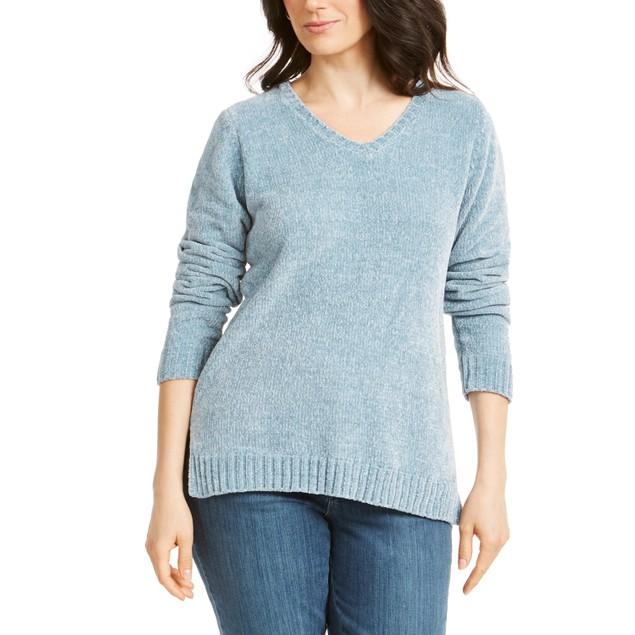 Karen Scott Women's V-Neck Chenille Sweater Dark Green Size Large