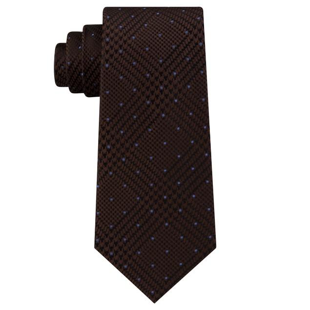 Michael Kors Men's Dotted Glen-Check Silk Tie Brown Size Regular