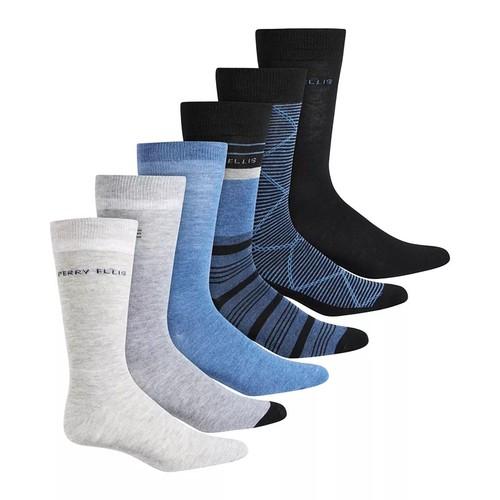 Perry Ellis Men's 6 PK Colorblocked Socks Black Size Regular