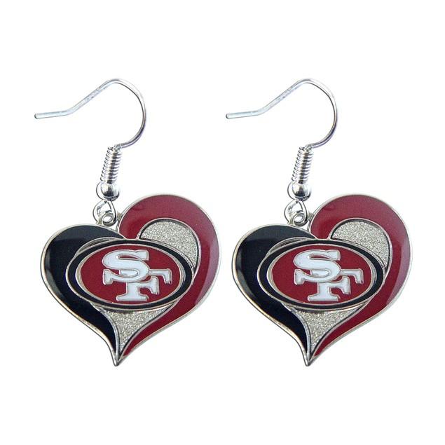 "NFL SF SAN Francisco  49ers 3/4""  Swirl Heart Shape Dangle  Earring"