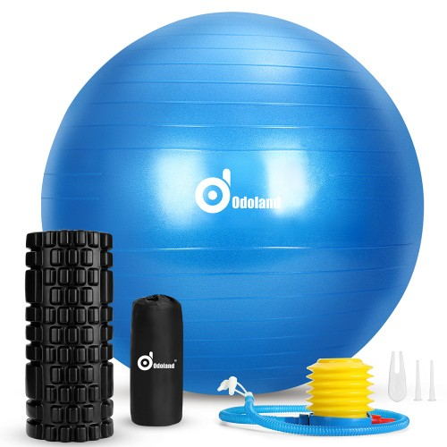 3-In-1 Exercise Ball Foam Roller Kit for Fitness Muscle Therapy