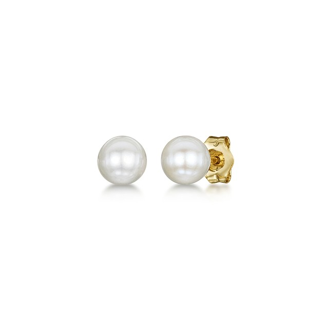 Freshwater Cultured Pearl Children Earrings in 14k Yellow Gold