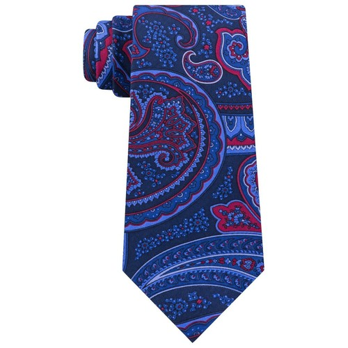 Tommy Hilfiger Men's Classic Large Paisley Silk Twill Tie Navy Size Regular
