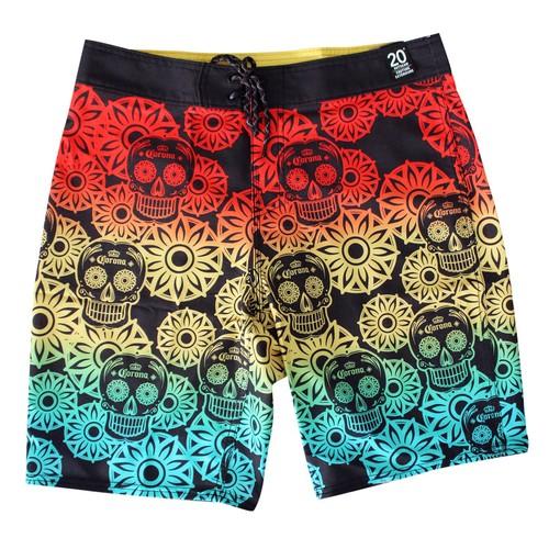 Corona Reef Sugar Skull Rainbow Board Shorts