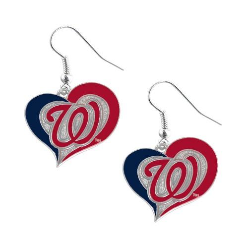 MLB Washington Nationals Swirl Heart Earring Set Charm Gift