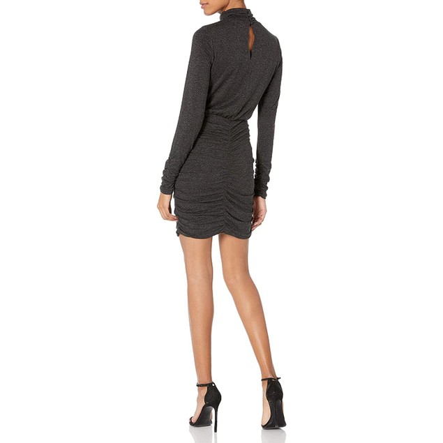 Aali-Jay Sunset and Vine Ruched Long Sleeve Body-Con Dress, Large, Charcoal