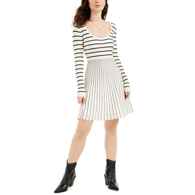 Guess Women's Nash Striped Fit & Flare Dress Brown Size Large