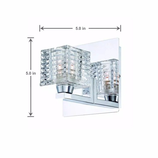 Hampton Bay Olivet One Light Chrome Wall Sconce with Cube Crystal Glass