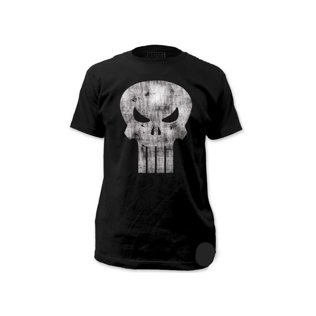 The Punisher White Logo Distressed T-Shirt