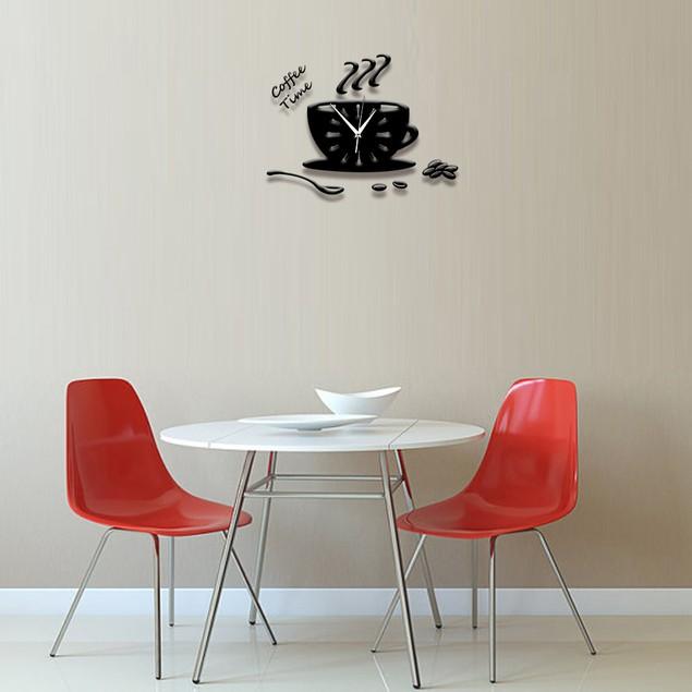 3D DIY Acrylic Wall Clock Modern Kitchen Home Decor Coffee