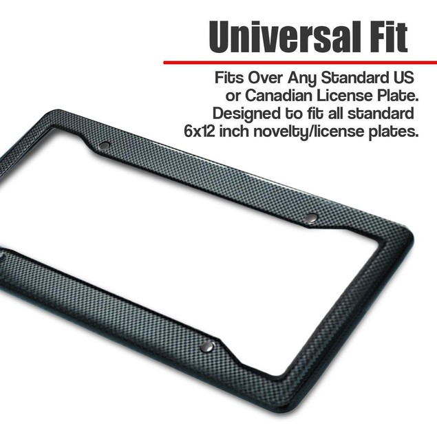 Zone Tech 2x Black Carbon Look License Plate Frame Cover Front Rear