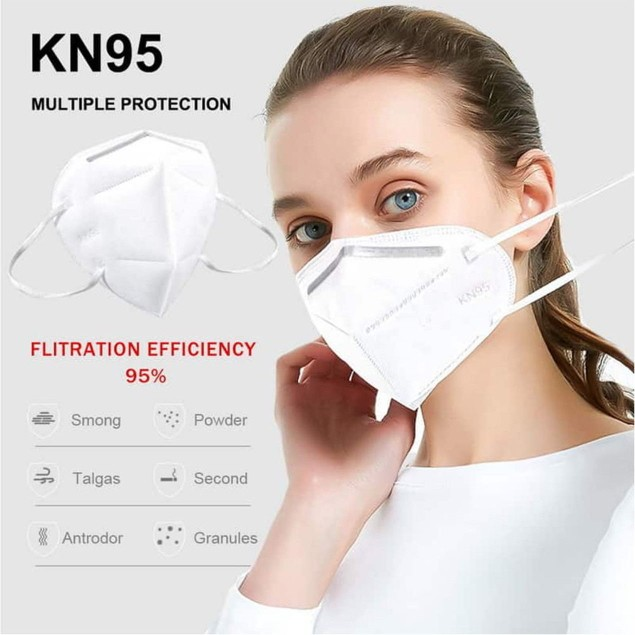 50-pack KN95 Face Mask Respirator Medical PM2.5 Breathable 5-Layer Protection