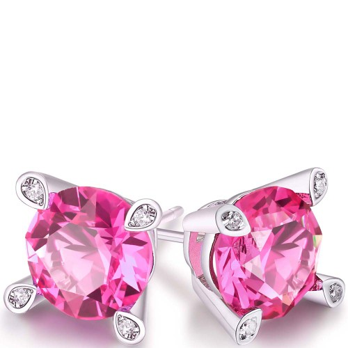 Pink Sapphire Round Stud Earrings