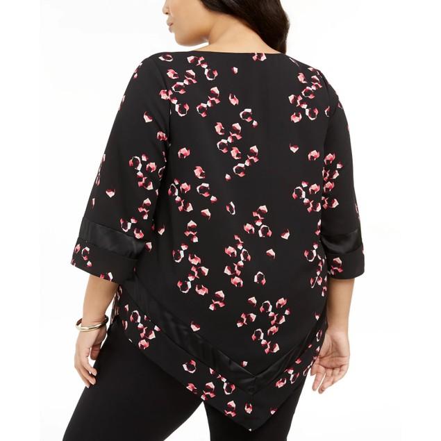Alfani Women's Plus Size Printed Pointed-Hem Top Black Size 1X