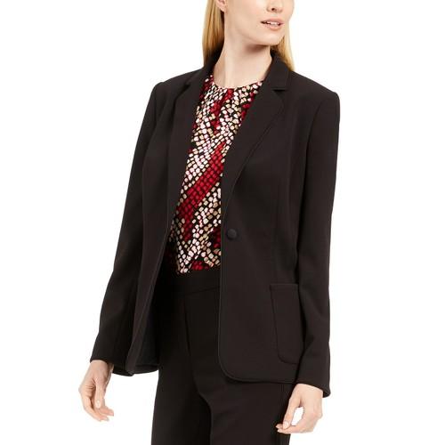 Calvin Klein Women's Piped-Trim Tuxedo Blazer Black Size 2