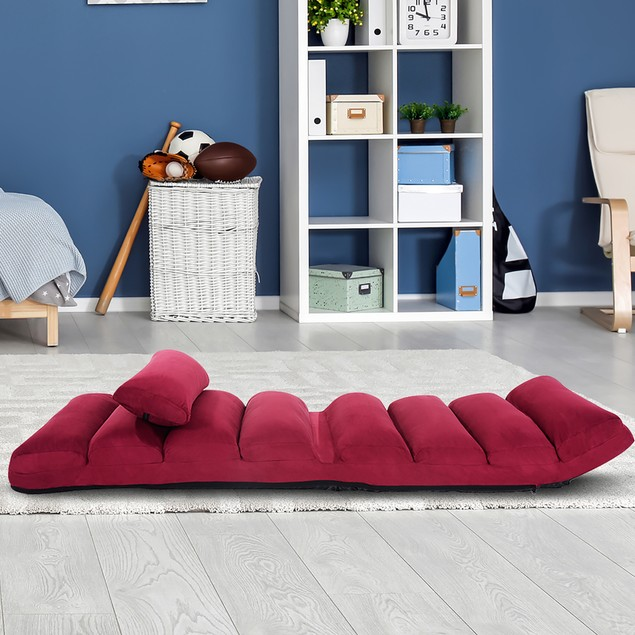 Costway Folding Lazy Sofa Chair Stylish Sofa Couch Bed Lounge Chair W/Pillo